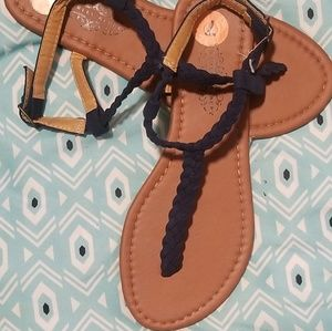 Shoes - Navy Blue Braided Thong Sandals Womans size 7